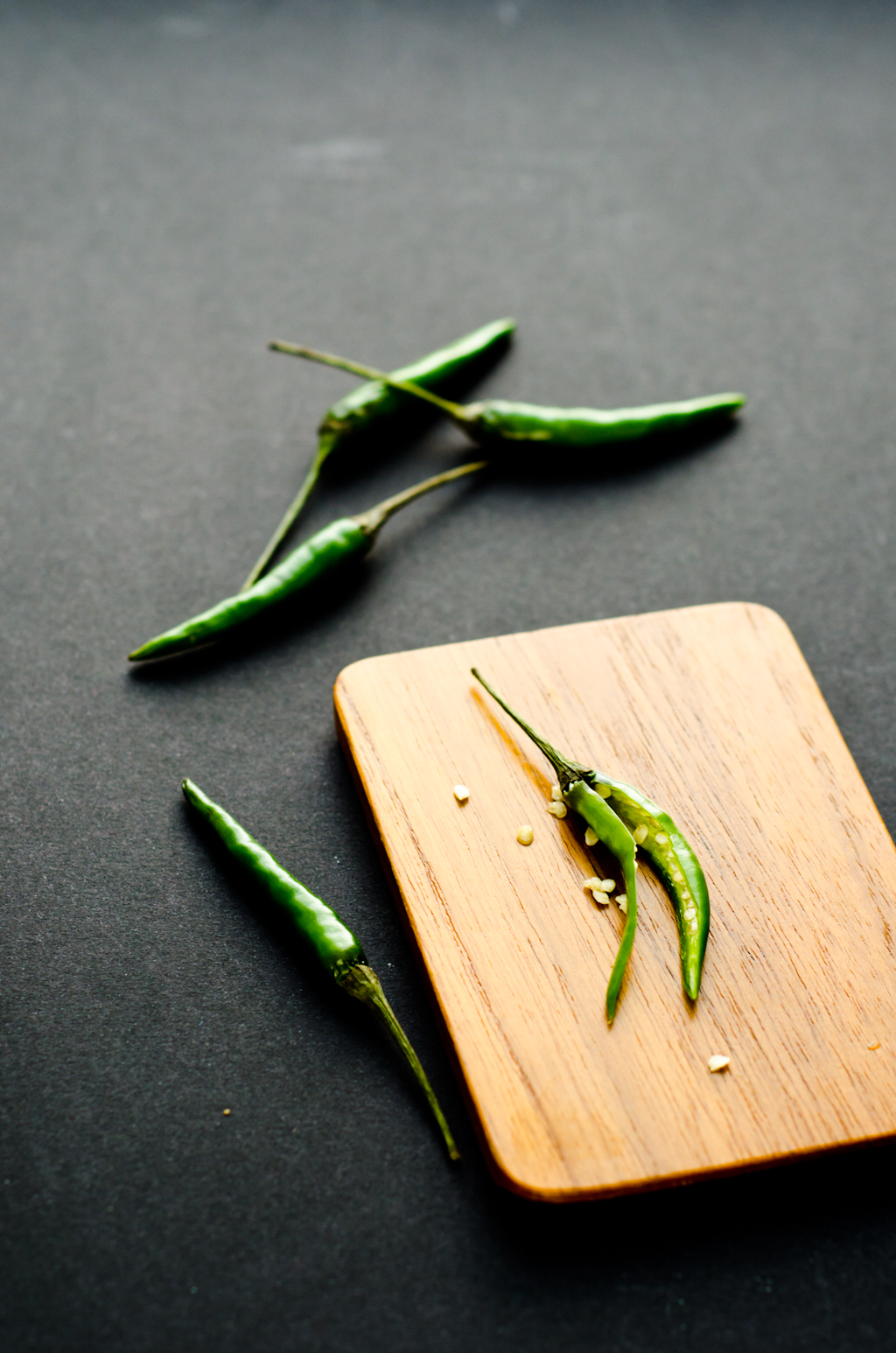 green bird's eye chillies