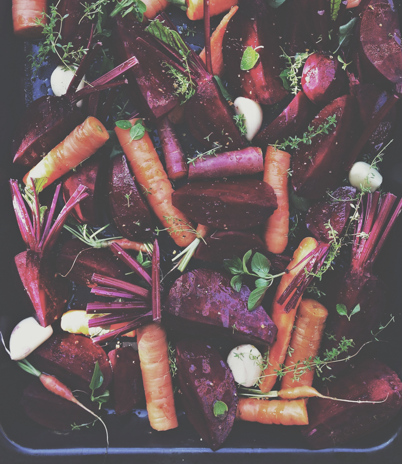 Roasting beets and carrots